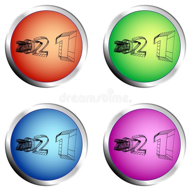 ensemble de bouton poussoir du cercle 2021 coloré illustration libre de droits