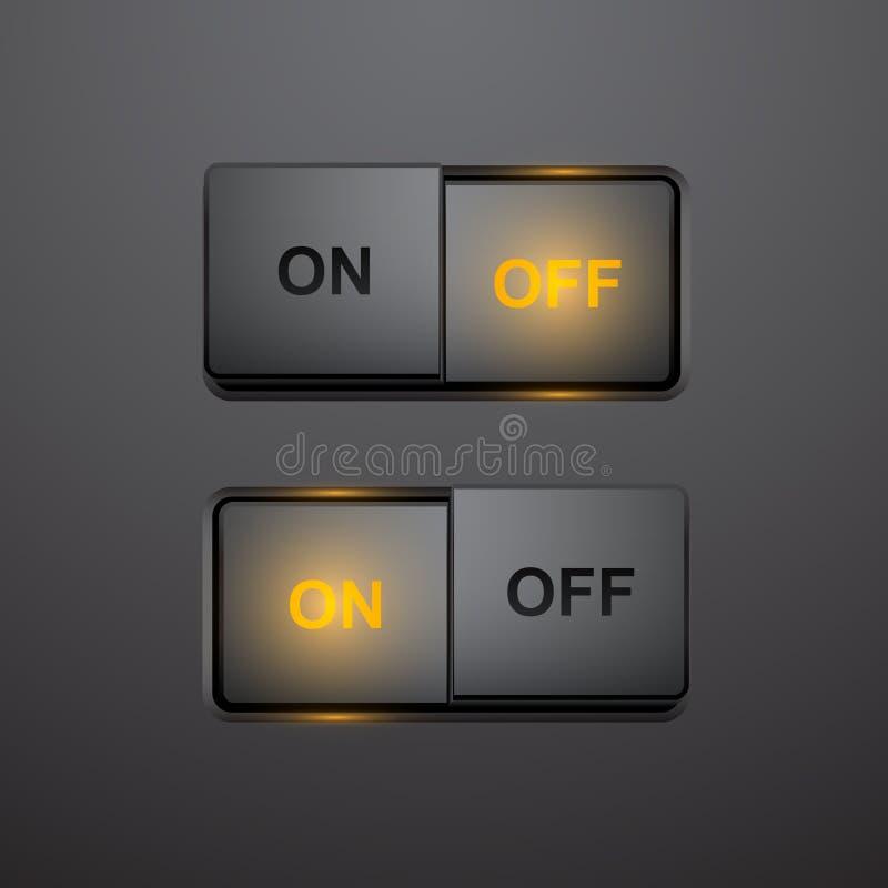 Ensemble de bouton-poussoir réaliste en positions marche-arrêt, bouton de vecteur illustration de vecteur