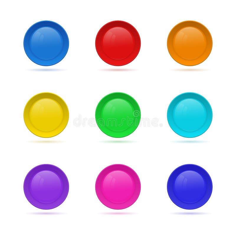 Ensemble de bouton rond vide pour le site Web collectio en verre du bouton 3D illustration libre de droits