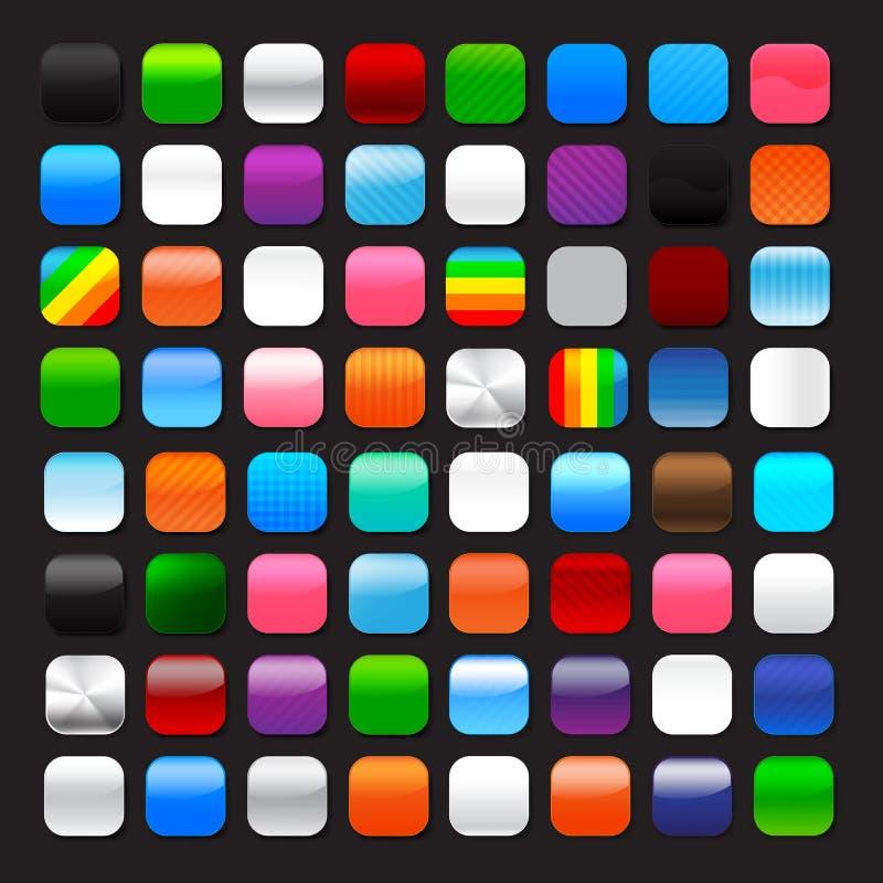Ensemble de bouton vide brut et d'éclat avec le vecteur coloré d'élément illustration de vecteur