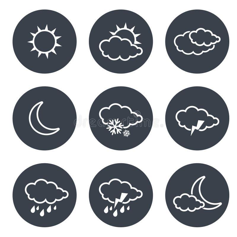 Ensemble de boutons circulaires gris avec les symboles de temps blancs, éléments de prévision, ligne conception illustration libre de droits