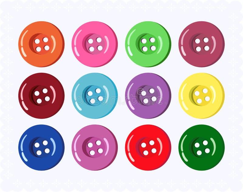 Ensemble de boutons colorés de vêtements Illustration de vecteur illustration libre de droits