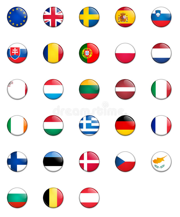Ensemble de boutons d'indicateur d'Union européenne illustration libre de droits