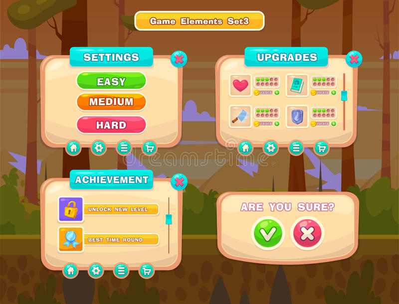 Ensemble de boutons de bande dessinée pour les jeux occasionnels Interface utilisateurs graphique, illustration de vecteur illustration libre de droits