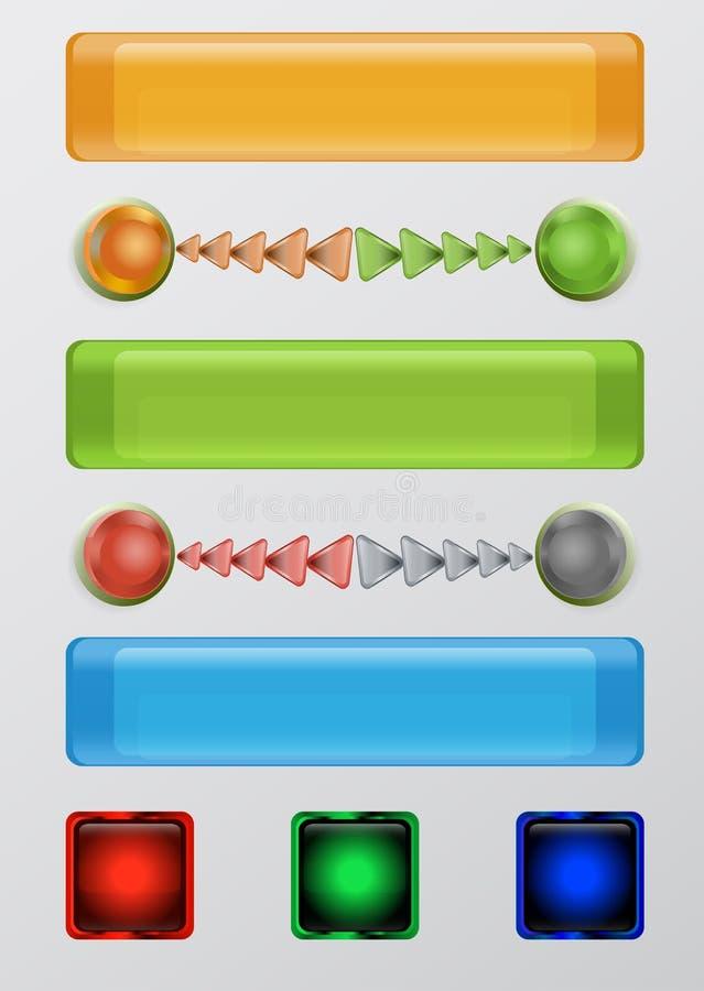 Ensemble de boutons, de boules et de flèches de Web illustration de vecteur