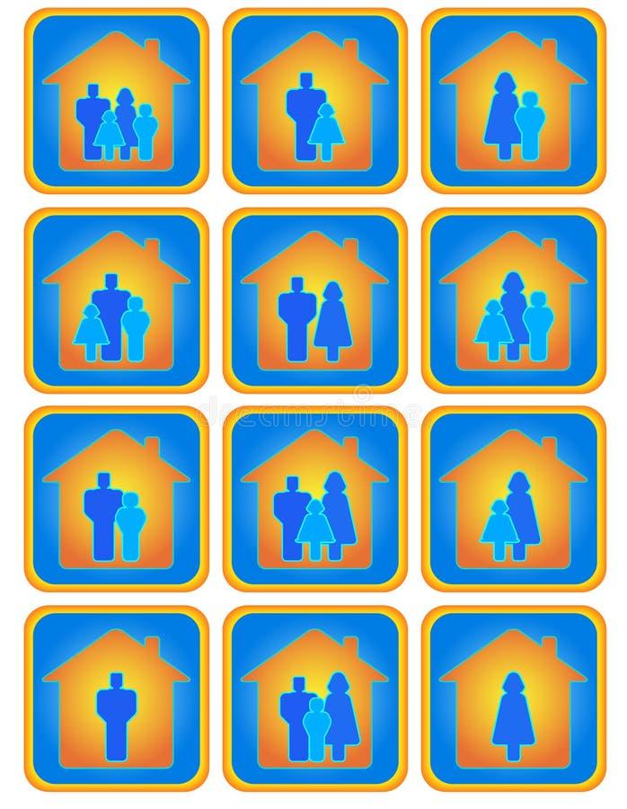 Ensemble de boutons de famille illustration libre de droits