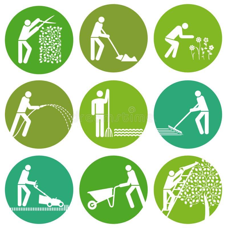 Ensemble de boutons de jardinage illustration libre de droits