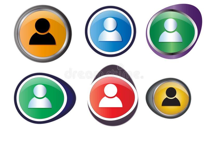 Ensemble de boutons de profil illustration stock