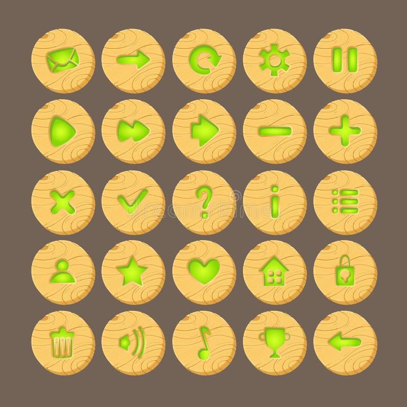 Ensemble de boutons en bois de bande dessinée avec des icônes de Web, illustration stock