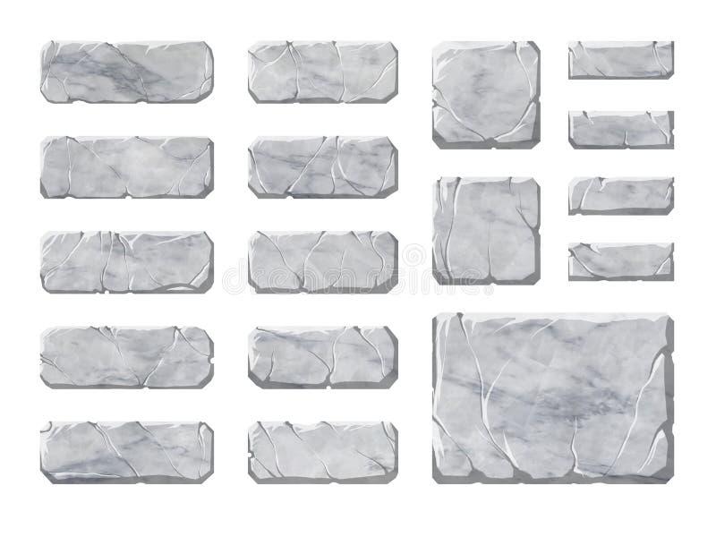 Ensemble de boutons et d'éléments en pierre réalistes d'interface illustration libre de droits