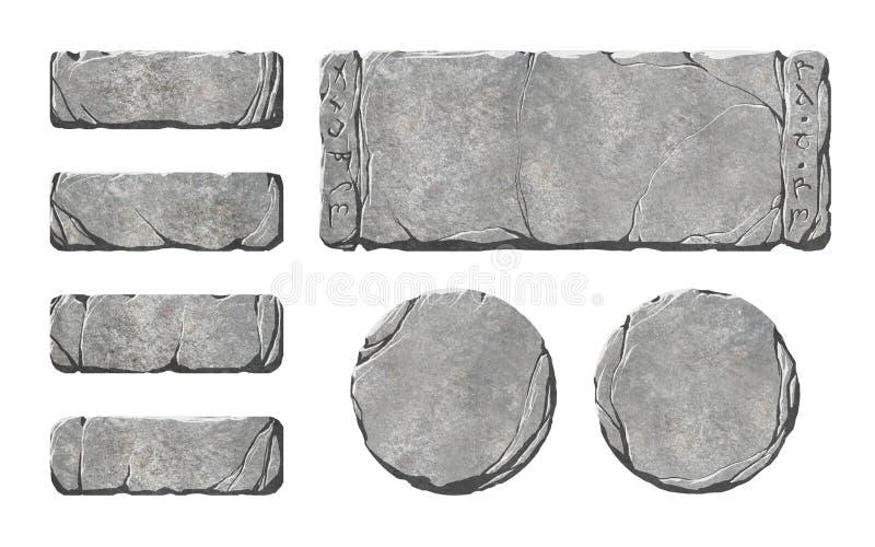 Ensemble de boutons et d'éléments en pierre réalistes d'interface illustration de vecteur