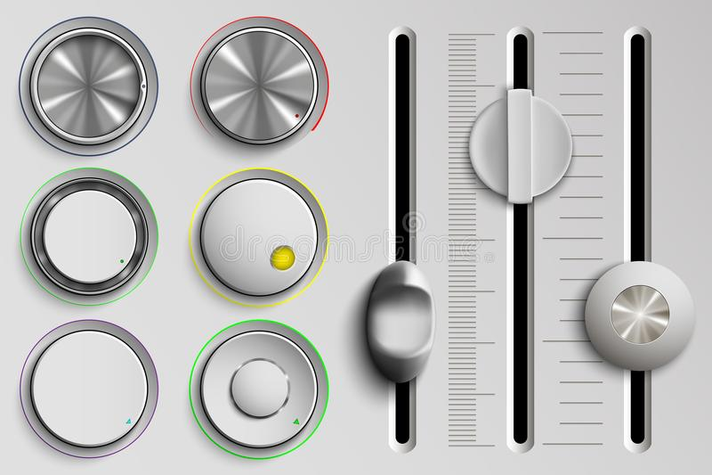 Ensemble de boutons et d'affaiblisseurs, contrôle du volume illustration stock