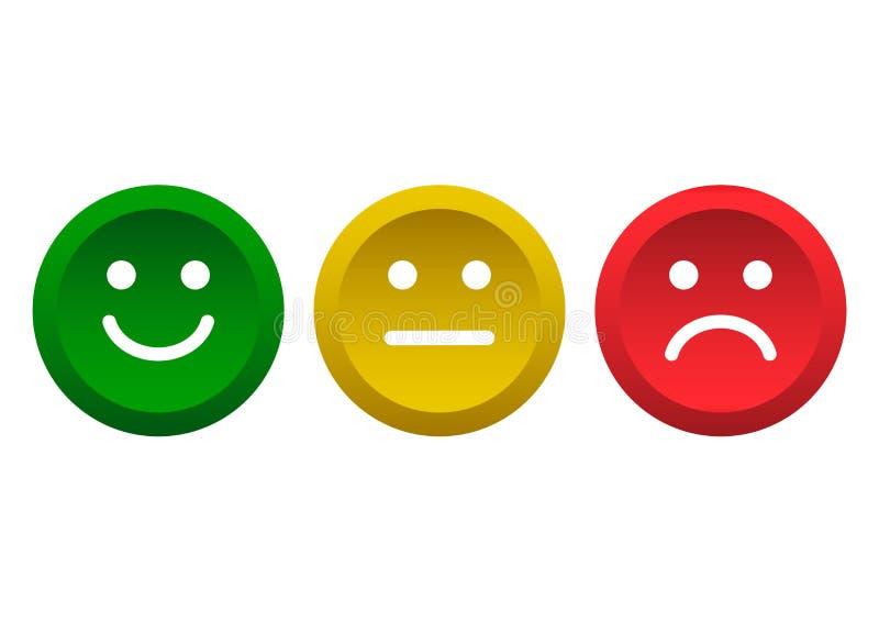 Ensemble de boutons Ic?ne verte, jaune, rouge d'?motic?nes de smiley positive, neutre et n?gative Illustration de vecteur illustration stock