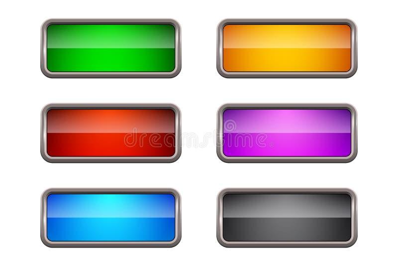 Ensemble de boutons rectangulaires colorés de Web de vecteur illustration libre de droits