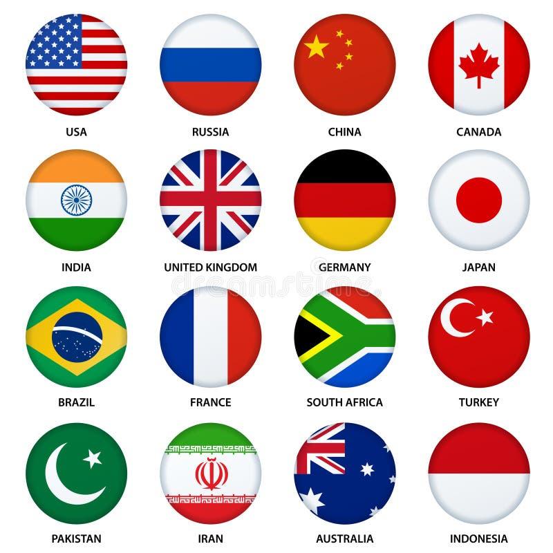 Ensemble de boutons ronds de drapeaux - 1 illustration libre de droits