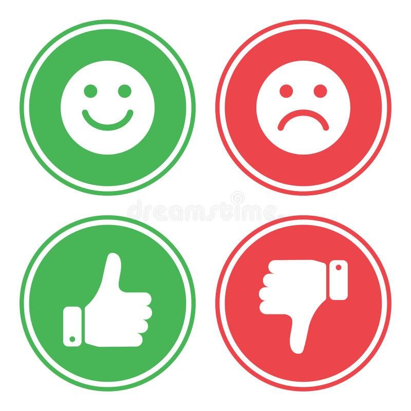 Ensemble de boutons verts et rouges Vecteur illustration stock