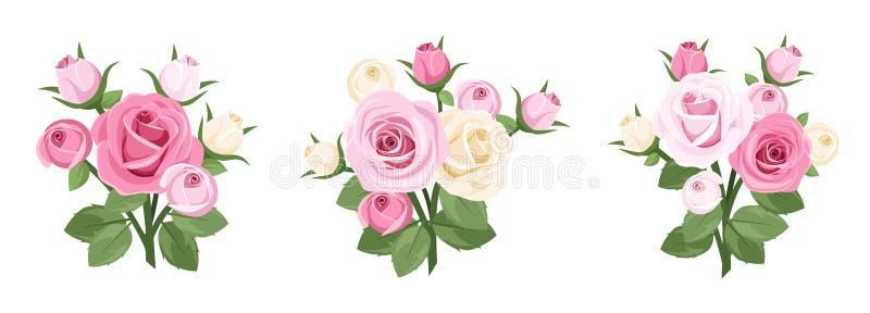 Ensemble de branchements de roses. illustration de vecteur
