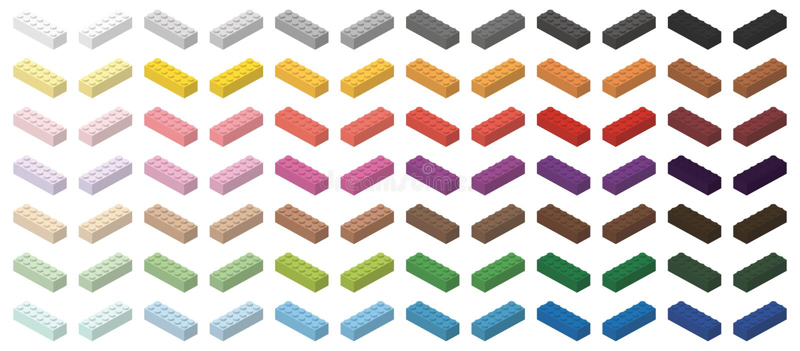 Ensemble de briques du bâtiment des enfants colorés illustration stock
