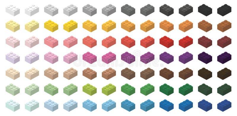 Ensemble de briques du bâtiment des enfants colorés illustration libre de droits