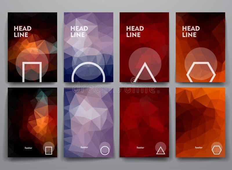 Ensemble de brochures abstraites dans le style de poligonal illustration stock