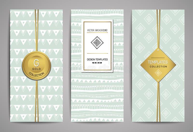 Ensemble de brochures avec les éléments tirés par la main de conception Calibres à la mode de vecteur illustration stock
