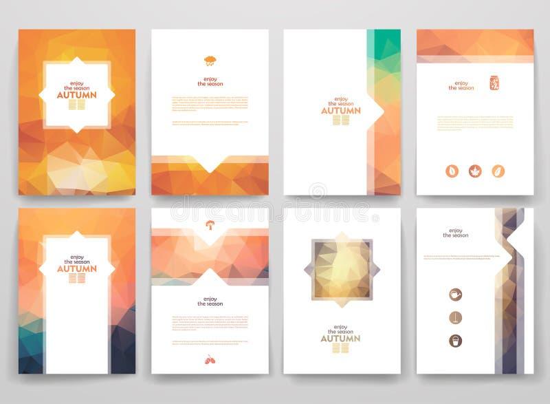 Ensemble de brochures dans le style de poligonal l'automne illustration stock