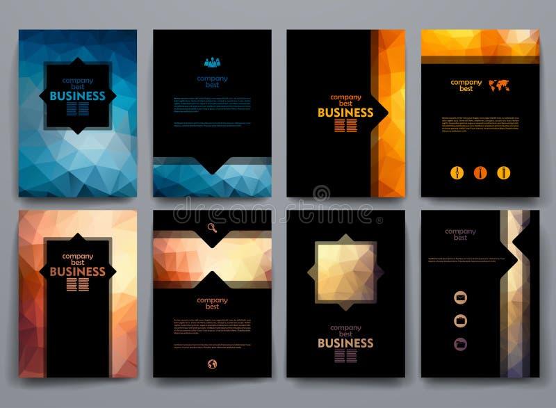 Ensemble de brochures dans le style de poligonal sur des affaires illustration de vecteur