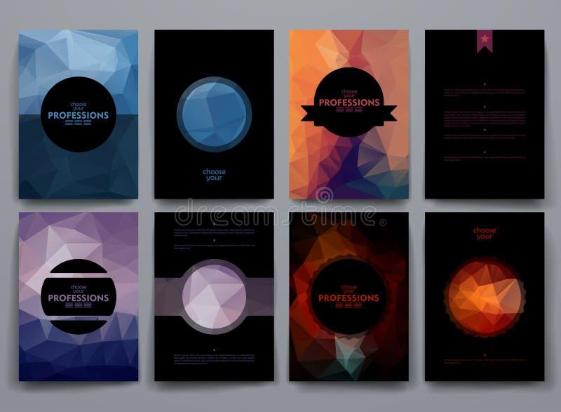 Ensemble de brochures dans le style de poligonal sur des professions illustration de vecteur