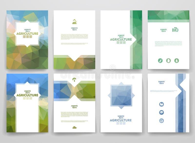 Ensemble de brochures dans le style de poligonal sur l'agriculture illustration de vecteur