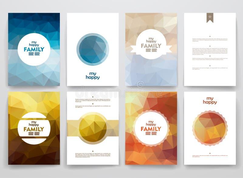 Ensemble de brochures dans le style de poligonal sur la famille illustration de vecteur