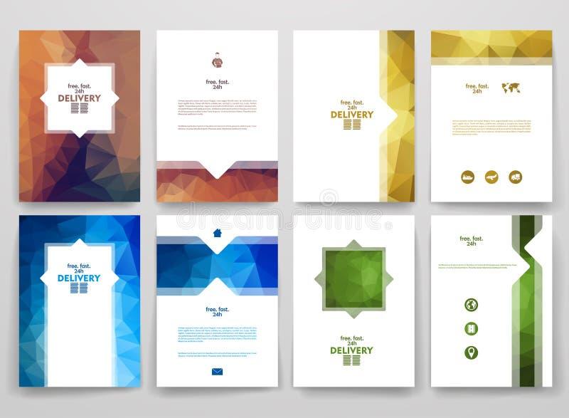 Ensemble de brochures dans le style de poligonal sur la livraison illustration stock