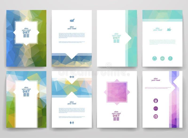 Ensemble de brochures dans le style de poligonal sur le thème de régime illustration libre de droits