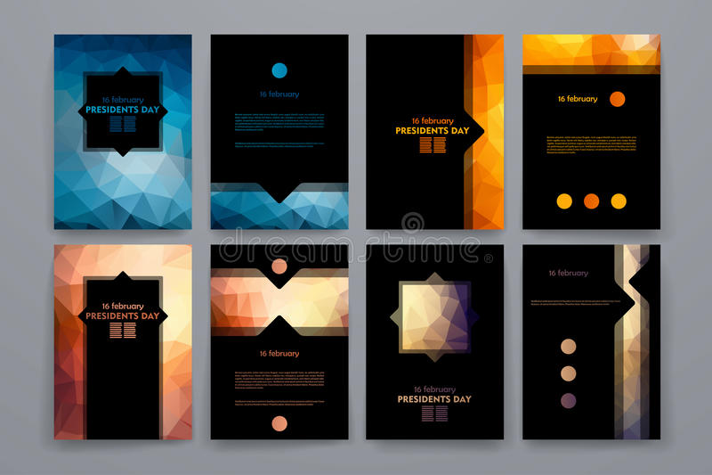 Ensemble de brochures dans le style de poligonal sur le thème des Présidents Day illustration stock