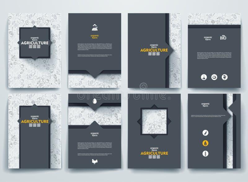 Ensemble de brochures de vecteur avec des milieux de griffonnages illustration de vecteur