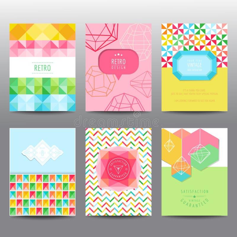 Ensemble de brochures et de cartes géométriques illustration libre de droits