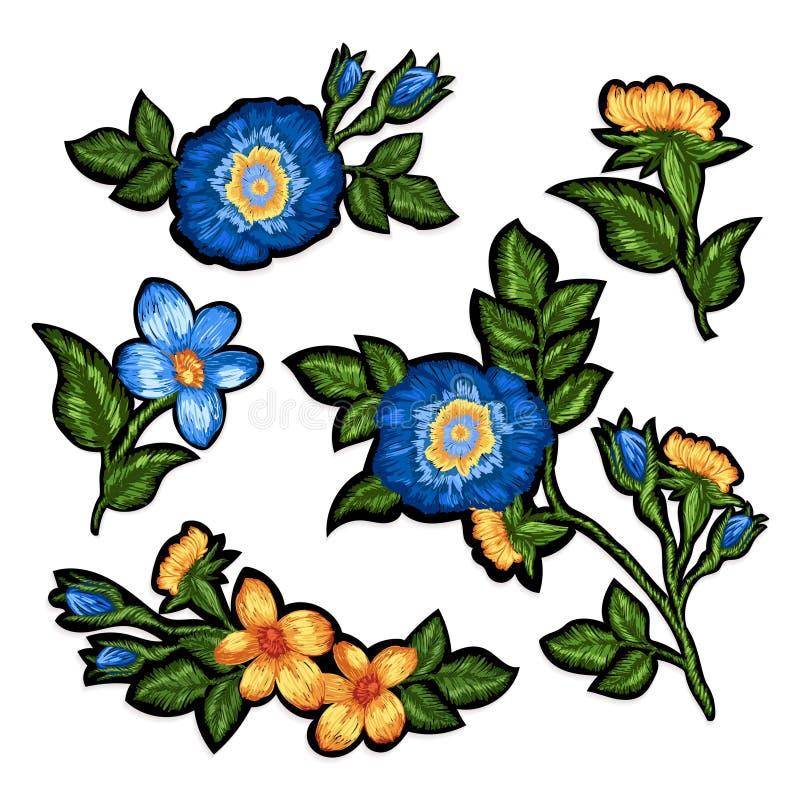 Ensemble de broderie florale illustration libre de droits