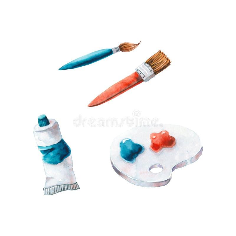 Ensemble de brosses à aquarelles, palette, peintures Illustration brillante isolée sur blanc Des matériaux d'art peints à la main illustration stock