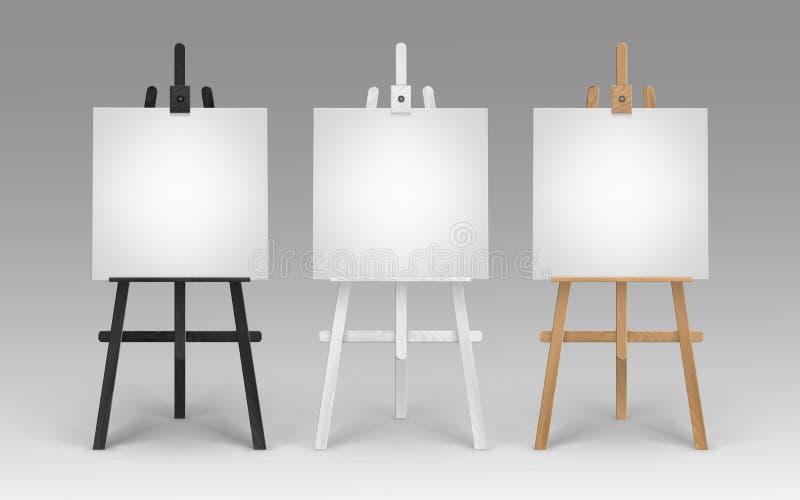 Ensemble de Brown en bois Sienna Easels blanche noire avec la moquerie vers le haut des toiles carrées vides vides d'isolement su illustration stock