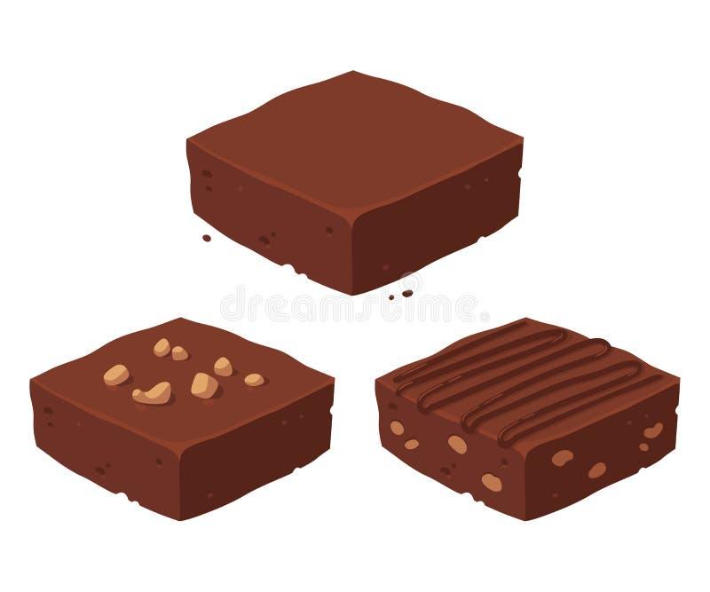 Ensemble de 'brownie' de chocolat illustration stock