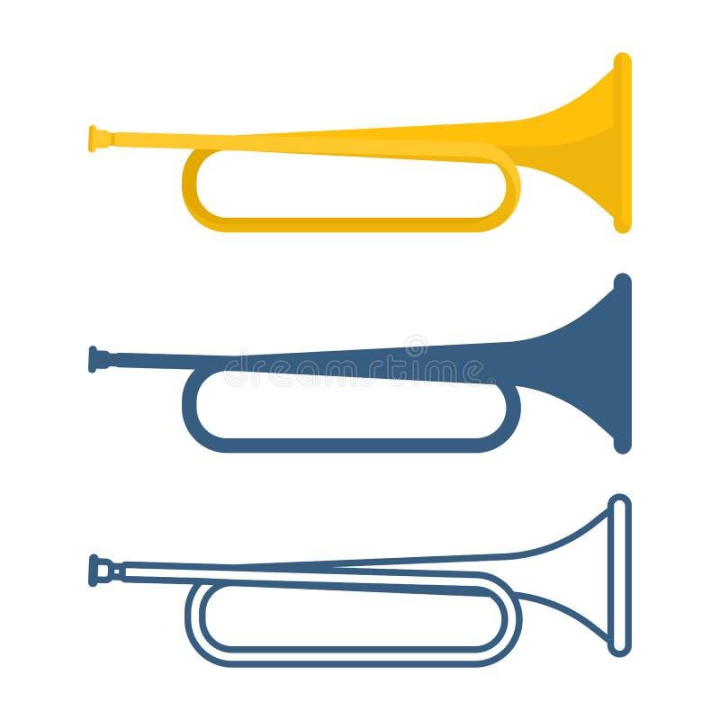 Ensemble de bugles de différentes couleurs sur l'illustration de vecteur illustration de vecteur
