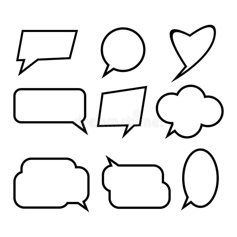 Ensemble de bulles comiques de la parole illustration stock