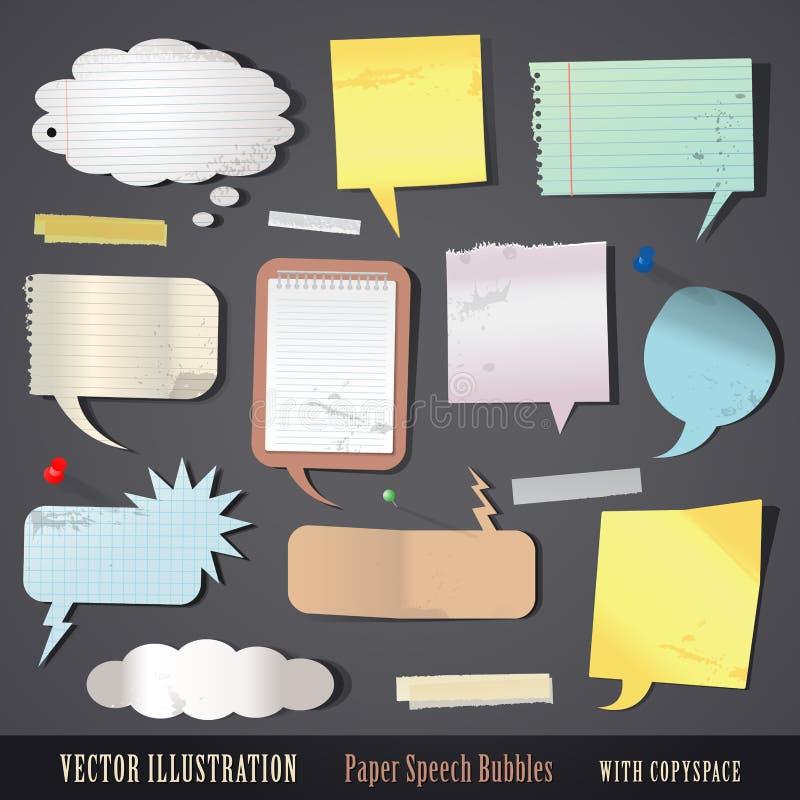 Ensemble de bulles de papier texturisées de la parole illustration libre de droits