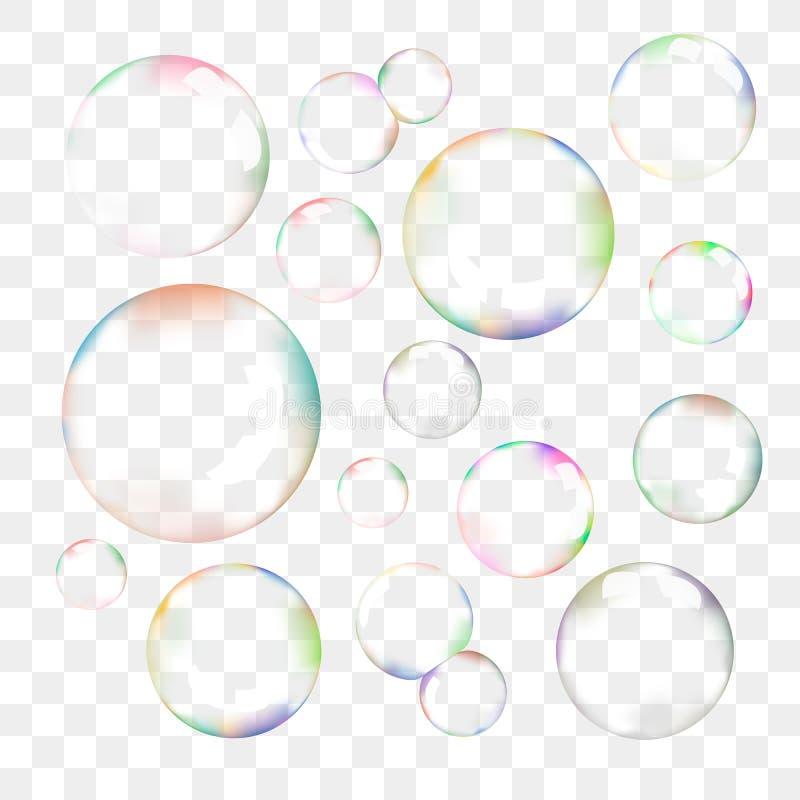 Ensemble de bulles de savon transparentes de vecteur illustration libre de droits