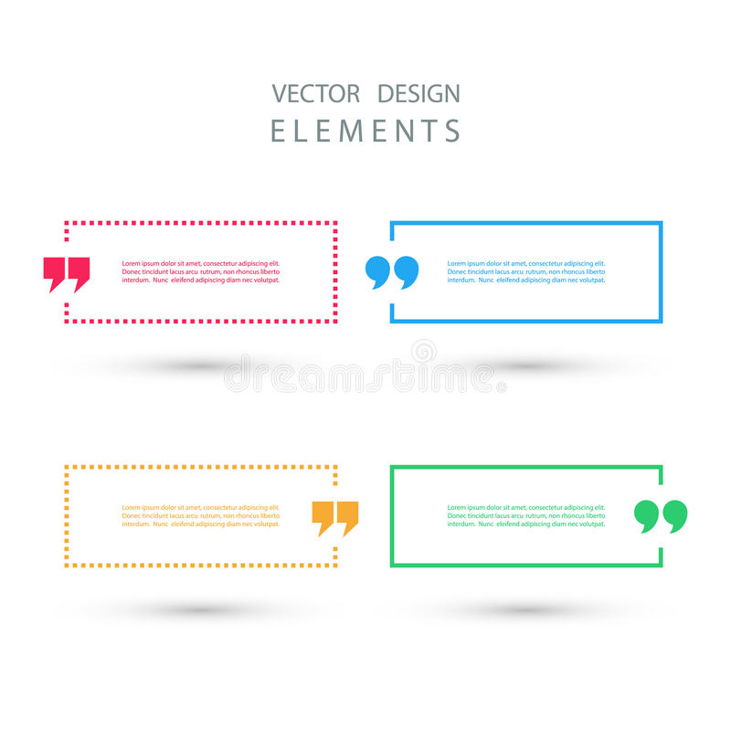 Ensemble de bulles des textes de citation de place de couleur illustration stock