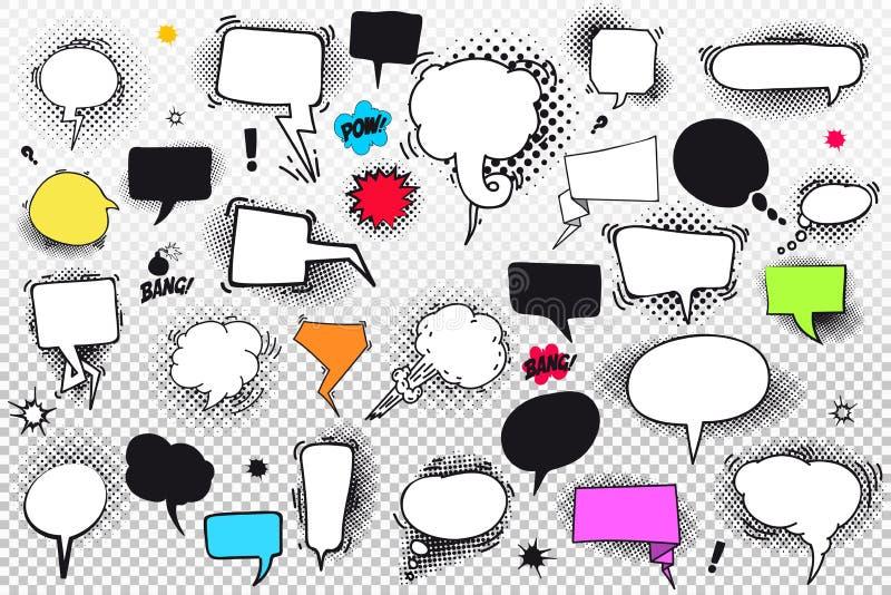 Ensemble de bulles et d'éléments comiques de la parole avec les ombres tramées Illustration de vecteur D'isolement sur le fond tr illustration de vecteur