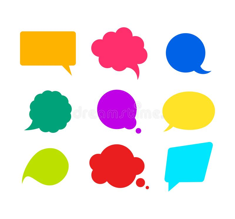 Ensemble de bulles de la parole de maquette de couleur rétro Vecteur illustration de vecteur