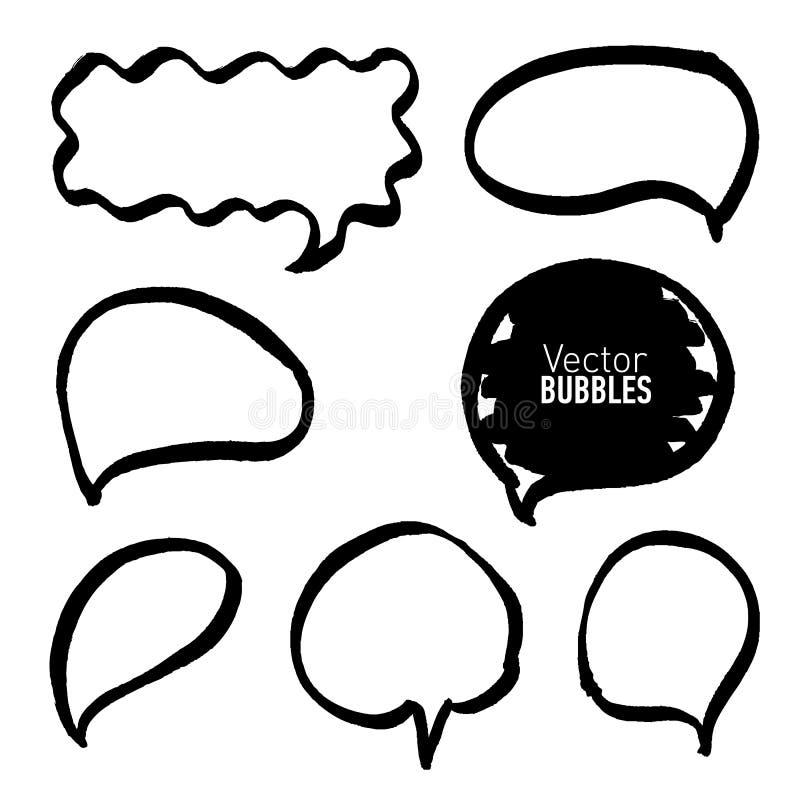 Ensemble de bulles noires tirées par la main de marqueur illustration de vecteur