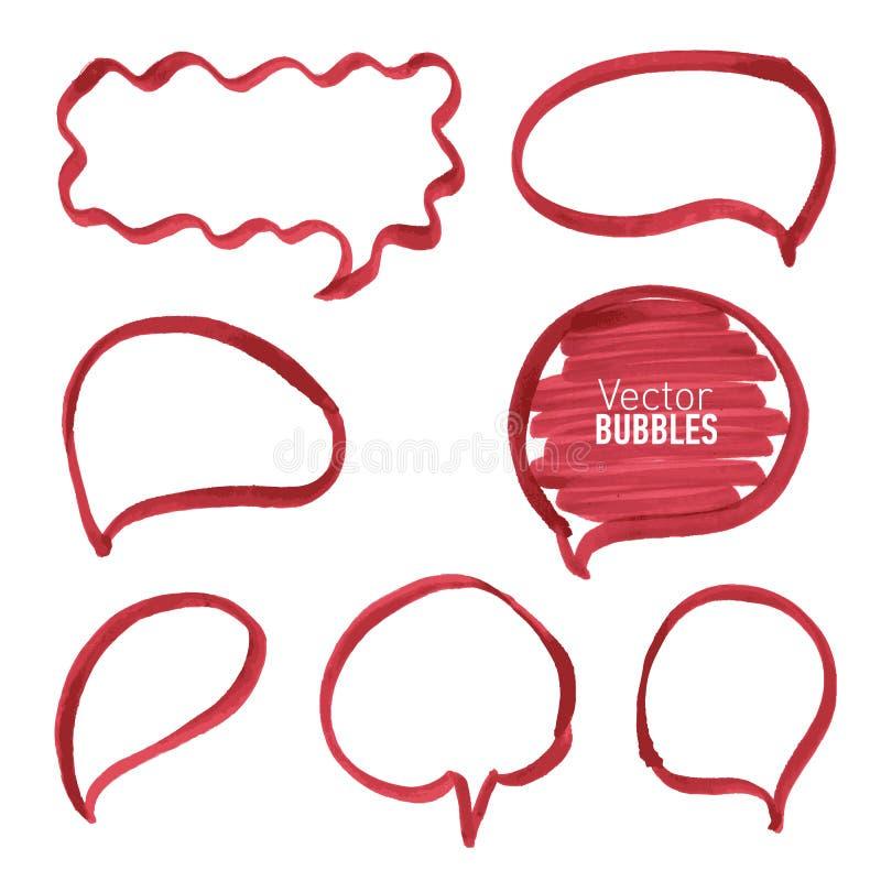 Ensemble de bulles rouges tirées par la main de marqueur illustration libre de droits