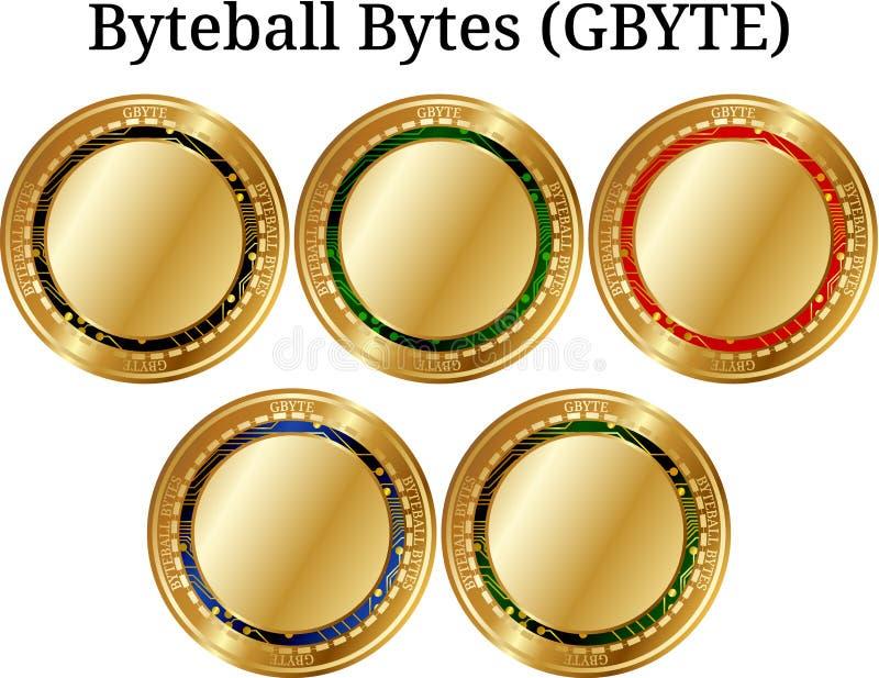 Ensemble de Byteball-octets d'or physiques G-octet, cryptocurrency numérique de pièce de monnaie Ensemble d'icône de G-octet de B illustration libre de droits