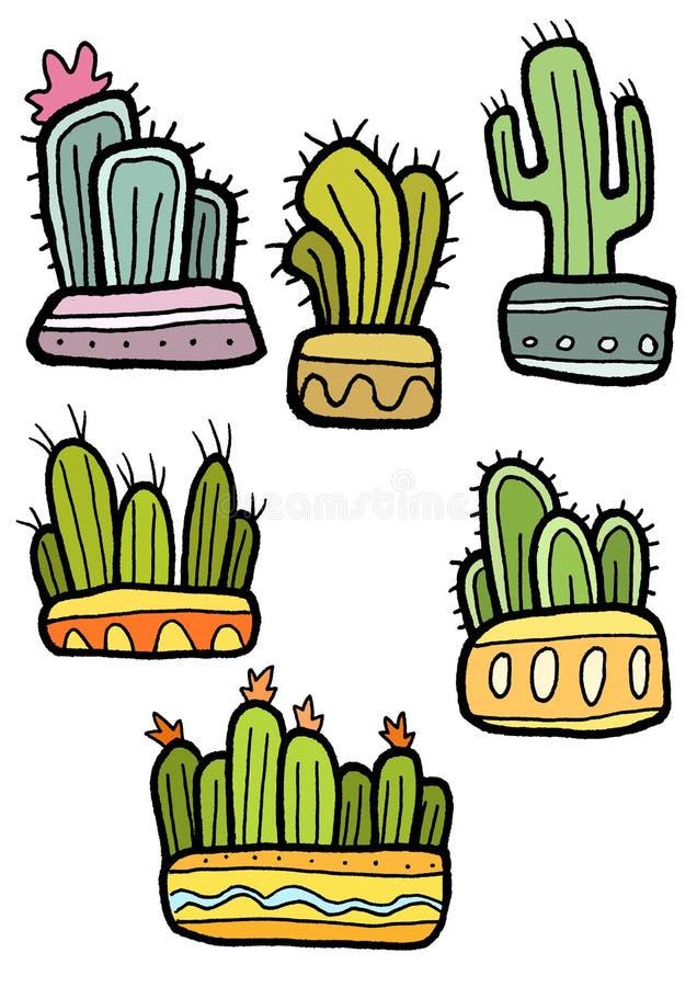 Ensemble de cactus d'isolement sur le fond blanc, illustration tirée par la main photographie stock